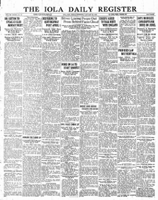 Iola Daily Register And Evening News from Iola, Kansas on January 20, 1933 · Page 1