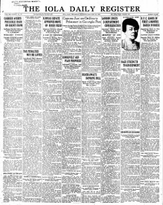 Iola Daily Register And Evening News from Iola, Kansas on January 26, 1933 · Page 1