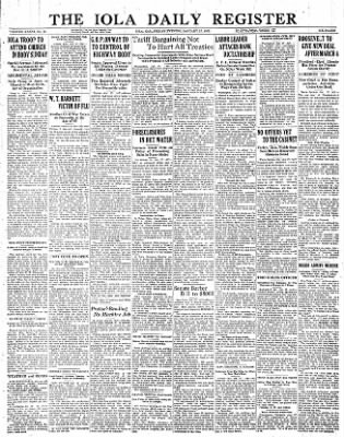 Iola Daily Register And Evening News from Iola, Kansas on January 27, 1933 · Page 1