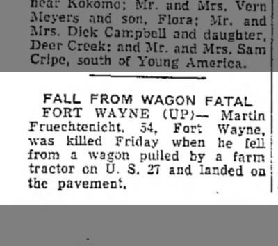 Martin Fruechtenicht, Logansport Pharos-Tribune, Logansport, IN, Sat. Sept. 19, 1953,p.8 -