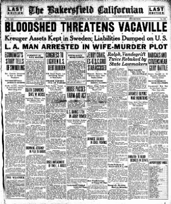 The Bakersfield Californian from Bakersfield, California on January 12, 1933 · Page 1