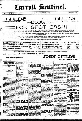 The Carroll Sentinel from Carroll, Iowa on June 1, 1894 · Page 1
