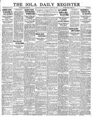 Iola Daily Register And Evening News from Iola, Kansas on February 8, 1933 · Page 1