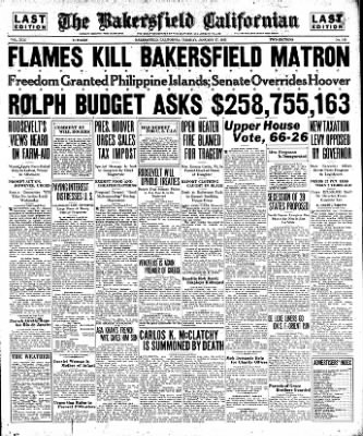 The Bakersfield Californian from Bakersfield, California on January 17, 1933 · Page 1