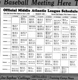 Afbeeldingsresultaat voor Middle Atlantic League schedule 1930