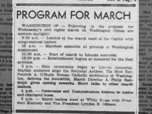 The schedule of events for the March on Washington for Jobs and Freedom in August 1963