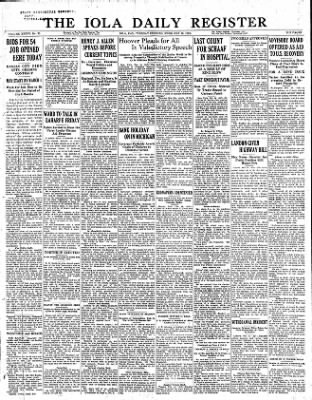 Iola Daily Register And Evening News from Iola, Kansas on February 14, 1933 · Page 1