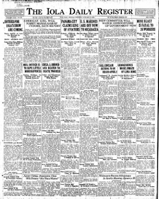 Iola Daily Register And Evening News from Iola, Kansas on January 9, 1928 · Page 1