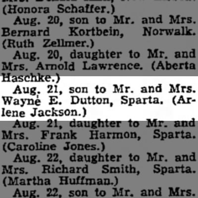 dad birth announcement - Aug. 21, son to Mr. and Mrs. Wayne E. Dutton,...