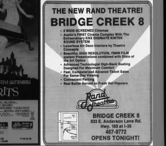 Rand Theatres Bridge Creek 8 opening