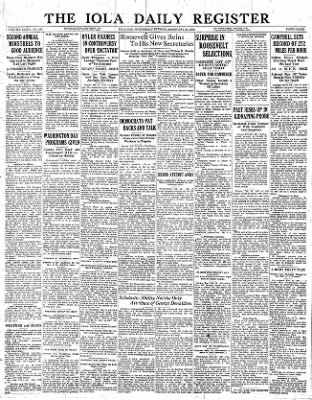 Iola Daily Register And Evening News from Iola, Kansas on February 22, 1933 · Page 1
