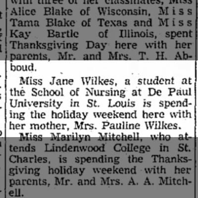 Jane Wilkes visiting from Nursing School