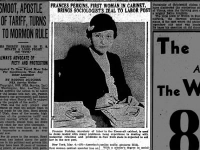 Clip of the Day: Frances Perkins, First Woman to Serve in a Cabinet Position March 4, 1933