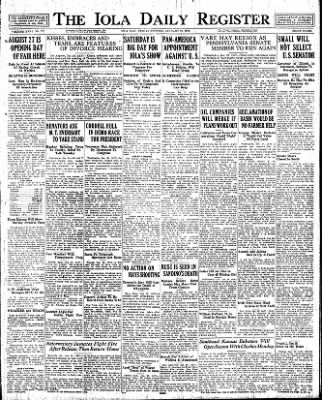 Iola Daily Register And Evening News from Iola, Kansas on January 20, 1928 · Page 1