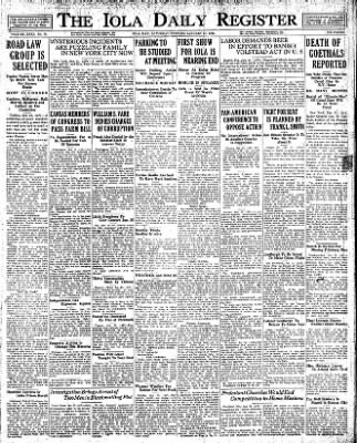 Iola Daily Register And Evening News from Iola, Kansas on January 21, 1928 · Page 1