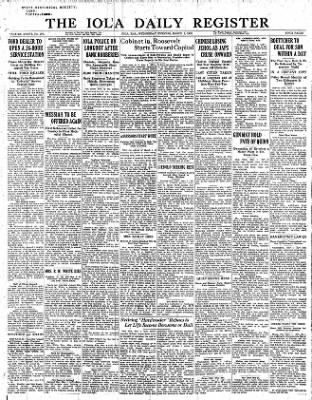 Iola Daily Register And Evening News from Iola, Kansas on March 1, 1933 · Page 1