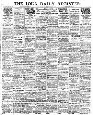 Iola Daily Register And Evening News from Iola, Kansas on March 3, 1933 · Page 1