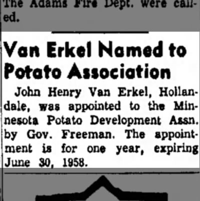 Austin Dailey Harald aug 2 1957 - Von Erkel Homed to Potato Associotion John...
