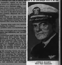 Photo of Admiral Halsey, commander of the Third Fleet in Battle of Leyte Gulf