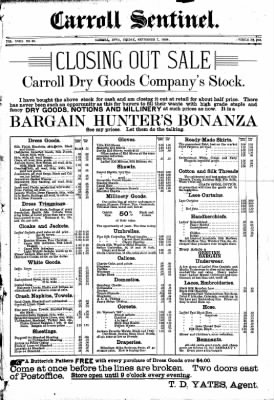The Carroll Sentinel from Carroll, Iowa on September 7, 1894 · Page 1