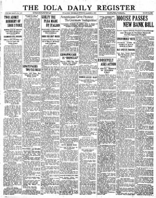 Iola Daily Register And Evening News from Iola, Kansas on March 9, 1933 · Page 1