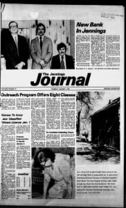 Sample Jennings Journal front page