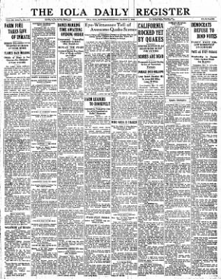 Iola Daily Register And Evening News from Iola, Kansas on March 11, 1933 · Page 1