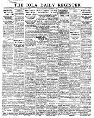 Iola Daily Register And Evening News from Iola, Kansas on March 16, 1933 · Page 1