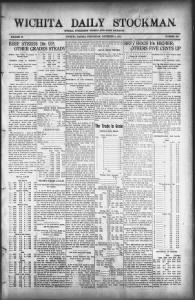 Sample Wichita Daily Stockman front page