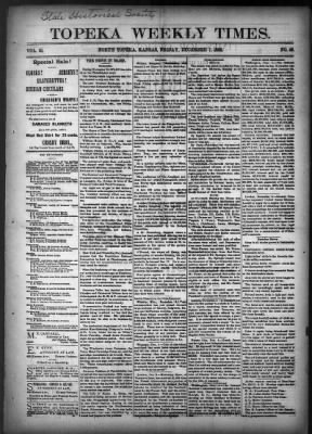 The Topeka Weekly Times from Topeka, Kansas on December 7, 1883 · 1