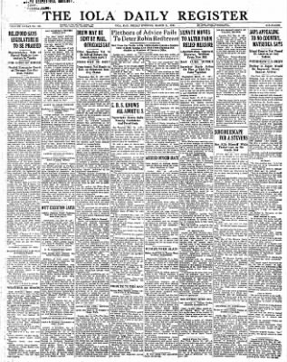 Iola Daily Register And Evening News from Iola, Kansas on March 24, 1933 · Page 1