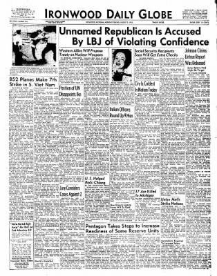 Ironwood Daily Globe from Ironwood, Michigan on August 2, 1965 · Page 1