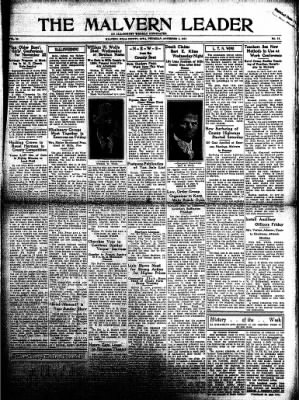The Malvern Leader from Malvern, Iowa on November 2, 1933 · Page 1