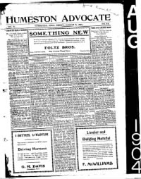 Sample Humeston Advocate front page