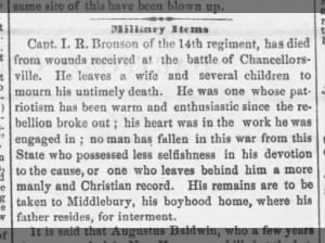 Obituary for Connecticut soldier who died from wounds received at Battle of Chancellorsville