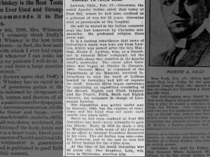 News of Geronimo's death at Fort Sill in 1909