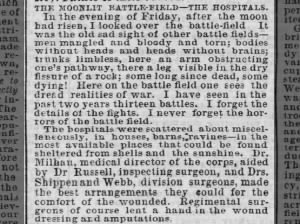 Description of Gettysburg battlefield casualties and hospitals