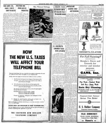 Naugatuck Daily News from Naugatuck, Connecticut on October 21, 1941 · Page 1