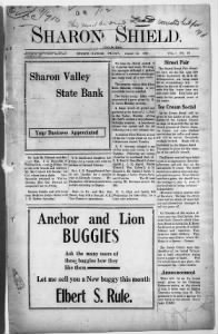 Sample Sharon Shield front page