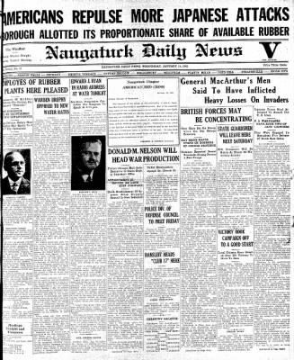 Naugatuck Daily News from Naugatuck, Connecticut on January 14, 1942 · Page 1