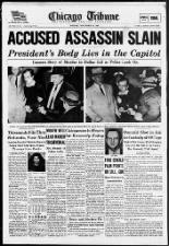 Nightclub owner Jack Ruby kills Lee Harvey Oswald, the accused assassin of John F. Kennedy