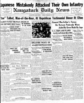 Naugatuck Daily News from Naugatuck, Connecticut on February 13, 1942 · Page 1