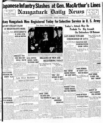 Naugatuck Daily News from Naugatuck, Connecticut on February 16, 1942 · Page 1
