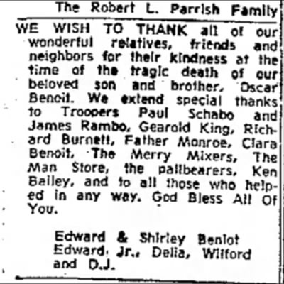 - The Robert L. Parrlsh Family WE WISH TO THANK...
