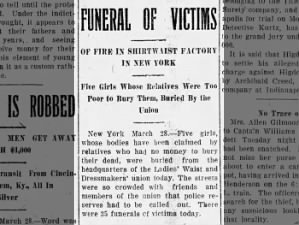 Five victims of the New York factory fire are buried by the Ladies' Waist and Dressmakers' Union