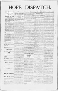 Sample Hope Dispatch front page