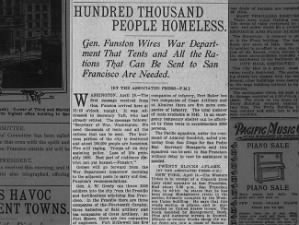 Early estimate concludes 100,000 homeless after the San Francisco earthquake and fires, 1906