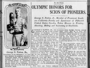 George S. Patton Jr. gains attention by competing in 1912 Olympics in Stockholm, Sweden