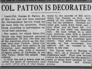 George Patton is awarded the Distinguished Service Cross for his actions in 1918 during WWI
