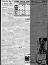 Newspaper prints full report provided by the US Navy on the Battle of Midway